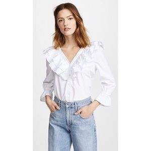 NWT J.O.A Ruffle V-Neck Button Down Shirt White
